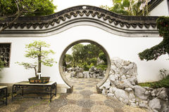 Chinese style door in garden Royalty Free Stock Photography