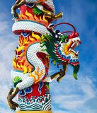 Chinese style dragon statue. With blue sky Royalty Free Stock Images