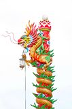 Chinese style dragon statue. Dragon statue on white background Royalty Free Stock Photo