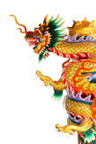 Chinese style dragon statue. On white isolated Royalty Free Stock Photo