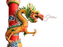 Chinese style dragon statue arts isolated Stock Image