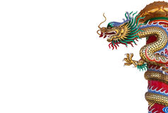 Chinese style dragon statue isolate Royalty Free Stock Images