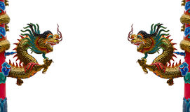 Chinese style dragon statue isolated on white background Stock Photos