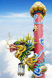 Chinese style dragon statue in temple Stock Image