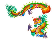 Chinese style dragon statue on white Stock Images