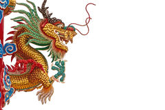 Chinese style dragon statue on white background Stock Photos