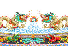 Chinese style dragon statue on white isolated Stock Images