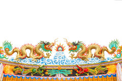Chinese style dragon statue on white isolated Royalty Free Stock Photography