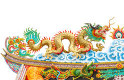 Chinese style dragon statue on white isolated Stock Photo