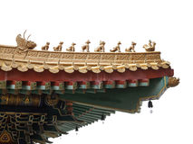 Chinese style eaves, a part of roof, isolated on white backgroun Stock Photography