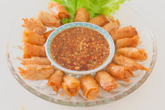 Chinese style fried spring rolls with sweet spicy sauce Stock Photos