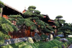 Chinese Style Garden. Asian Chinese Style Garden with tree, gardening, house, water, bridge , stone, design, architecture can be found in China, Asia Stock Image