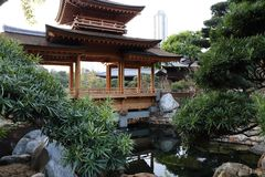 Chinese Style Garden. Asian Chinese Style Garden with tree, gardening, house, water, bridge , stone, design, architecture can be found in China, Asia Royalty Free Stock Photos