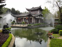 Chinese style garden. The beautiful garden. It looks healthy green. This photo was taken in Chiangrai, Thailand Stock Photo
