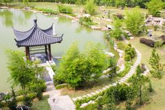 Chinese style garden with pavilion Royalty Free Stock Photography