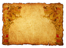 Chinese style gold dragon 2012 background. Chinese style gold dragon in old paper Stock Photo