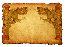 Chinese style gold dragon 2012 background. Chinese style gold dragon in old paper Royalty Free Stock Photo