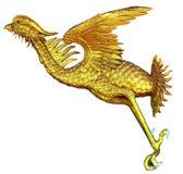 Chinese style Gold Phoenix. On white background Royalty Free Stock Image