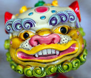 Chinese style handmade clay lion Stock Photo