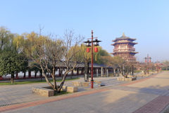 Chinese style high pavilion of datang furong garden Royalty Free Stock Photo