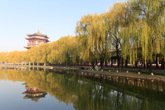 Chinese style high pavilion by the lake of datang furong garden Royalty Free Stock Photography