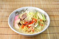 A Chinese-style hotchpotch originating in Nagasaki, called `chanpon`. It is the Japanese noodles dish of the Nagasaki mixture stock photos