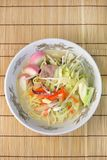 A Chinese-style hotchpotch originating in Nagasaki, called `chanpon`. It is the Japanese noodles dish of the Nagasaki mixture stock photography