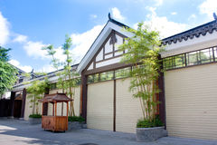 Chinese style house with green bamboo Stock Images