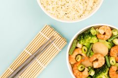 Chinese Style King Prawn With Ginger And Spring Onions Royalty Free Stock Images