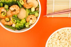Chinese Style King Prawn With Ginger And Spring Onions Stock Photography