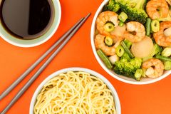 Chinese Style King Prawn With Ginger And Spring Onions Royalty Free Stock Image