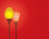 Chinese Style lamp on red pattern background Royalty Free Stock Photos