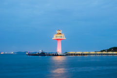 Chinese style lighthouse and twilight sky at Koh Sichang,Chonburi province,Thailand. Stock Images