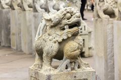 Chinese style lion carved stone on the pedestal royalty free stock photography
