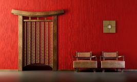 Chinese style lounge room vector illustration
