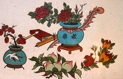 Chinese style painting on wall of shrine. Chinese style colorful painting on wall of shrine Royalty Free Stock Photos