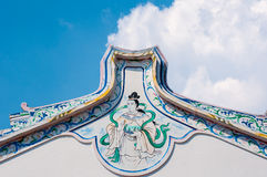 Chinese style painting on white wall of shrine in Thailand. on c Royalty Free Stock Photos