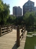 Chinese style. Park in one of the Beijing compounds Royalty Free Stock Photos