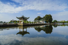 A Chinese-style pavilion rest in Kunming Dianchi Lake side. Stock Photo