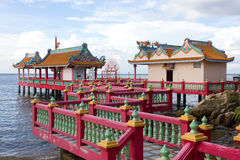 Chinese style pavilion on the seaside Royalty Free Stock Photo