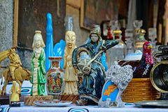 Chinese style porcelain statues on the flea market Stock Images