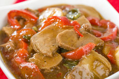 Chinese Style Pork with Red Peppers Stock Photography