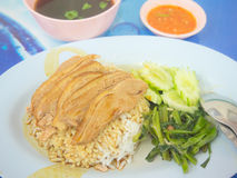 Chinese style pot-stewed duck with rice and vegetable garnish Royalty Free Stock Photography