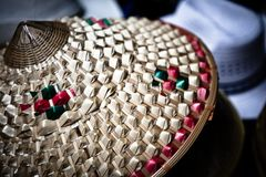 Chinese Style Rattan Hat Stock Images