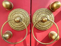 Chinese style Red door,Close-up of the door knockers Stock Images