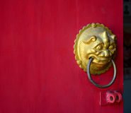 Chinese-style red door in George Town, Malaysia Royalty Free Stock Images