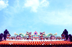 Chinese-style roof under the blue sky Royalty Free Stock Photo