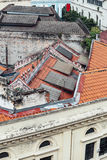 Chinese style roofs with modern buildings in Kualar Lumpur, Malaysia stock photo