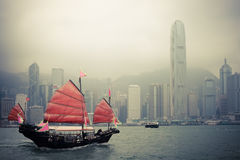Chinese style sailboat in Hong Kong stock photography