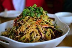 Chinese style salad with soybean stripes and noodles, Chinese delicacies, Asian food stock photo
